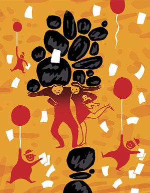 Illustratie van Peter ter Mors bij het kerstessay van Syp Wynia 2016